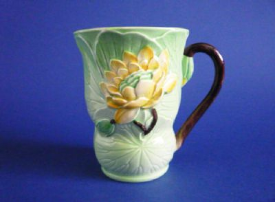 Fine 1930s Carlton Ware Cocoa Mug - Green with Yellow Water Lily #1
